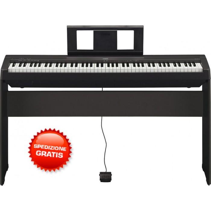 YAMAHA P45 BK PIANO DIGITALE CON STAND L-85 + Pedale Sustain P 45 88 TASTI PESATI